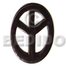Horn 45 mm Peace Sign Black Pendants - Bone Horn Pendants BFJ5182P
