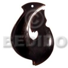Horn Fish Hook Black 40 mm Pendants - Bone Horn Pendants BFJ5186P