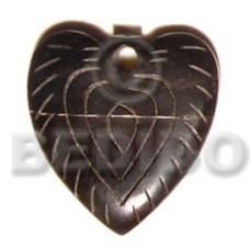 Horn Heart 35 mm Natural Carvings Pendants - Bone Horn Pendants BFJ5174P