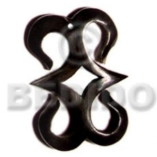 Horn Hook 40 mm Black Pendants - Bone Horn Pendants BFJ5188P