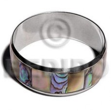 iridescent Paua Abalone Inlaid Stainless Metal 1 inch 65 mm Bangles - Shell Bangles BFJ107BL
