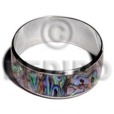 iridescent Paua Abalone Inlaid Stainless Metal 1 inch 65 mm Bangles - Shell Bangles BFJ108BL