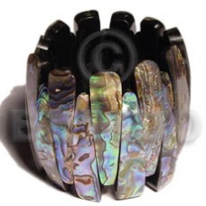iridescent Paua Abalone Resin Backing Elastic 55 mm Bangles - Shell Bangles BFJ034BL