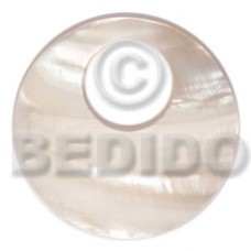 Kabibe Shell 40 mm Round White Pendants - Simple Cuts BFJ6227P