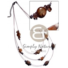 Kabibe Shell Flat Buri Seed Laminated Multi Row Shell Necklace BFJ3268NK