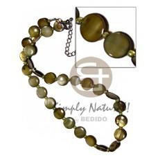 Kabibe Shell Glass Beads Laminated 10 inch Olive Shell Necklace BFJ2690NK