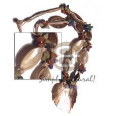 Kabibe Shell Laminated Brown Lip Shell Wax Cord Multi Row Shell Necklace BFJ3228NK