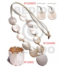 Kabibe Shell White Set Jewelry Long necklace Bangles Earrings Set Jewelry BFJ012SJ