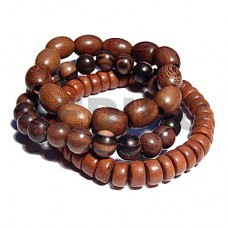 Kamagong Wood Bayong Wood Robles Wood Round Elastic Multi Row Wood Bracelets BFJ5345BR
