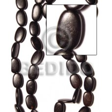 Kamagong Wood Black Flat Oval 20 mm 16 inches Wood Beads - Flat Round and Oval Wood Beads BFJ007WB