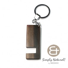 Kamagong Wood Ebony Tiger 64 mm x 24 mm x 5 mm Hardwood Chrome Keychain IPHONE ANDROID ACCESSORY BFJ083KC