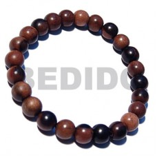 Kamagong Wood Ebony Tiger Elastic Round 8 mm Wood Bracelets BFJ5305BR
