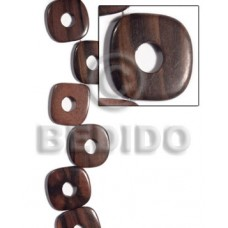Kamagong Wood Ebony Tiger Face to Face Round Edges Square 35 mm Hardwood Wood Beads - Flat Square Wo