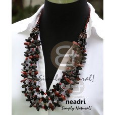 Kamagong Wood Ebony Tiger Hardwood Bayong Wood Slide Cut Multi Row Natural 36 inches Wooden Necklaces BFJ3826NK