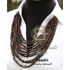Kamagong Wood Ebony Tiger Hardwood Round Graduated Natural 24 inches Wooden Necklaces BFJ3825NK