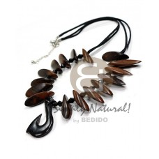 Kamagong Wood Ebony Tiger Hardwood Slide Cut Natural Carabao Horn 18 inches Wooden Necklaces BFJ3806