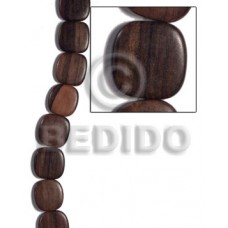 Kamagong Wood Hardwood Ebony Tiger Face to Face Flat Square 25 mm Wood Beads - Flat Square Wood Bead