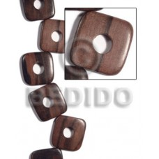 Kamagong Wood Hardwood Ebony Tiger Square Round Edges 35 mm Wood Beads - Flat Square Wood Beads BFJ4