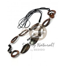 Kamagong Wood Hardwood Soutache Cords 36 inches Natural Ebony Tiger Wooden Necklaces BFJ3828NK