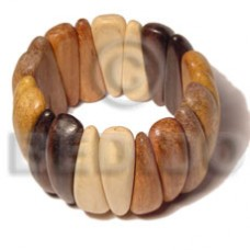 Kamagong Wood Nangka Wood White Wood Robles Wood Bayong Wood Elastic White Natural Combination Yellow Bangles - Wooden Bangles BFJ021BL