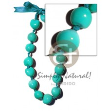 Kukui Nuts Ribbon Aqua Blue Painted Lumbang Seed Kukui Lei Necklace BFJ1808NK