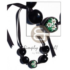 Kukui Nuts Ribbon Black Hand Painted Lumbang Seed Choker Kukui Lei Necklace BFJ1739NK