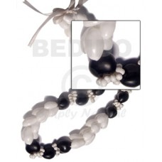 Kukui Nuts Ribbon Black Lumbang Seed Bubble Shell Kukui Lei Necklace BFJ062LEI