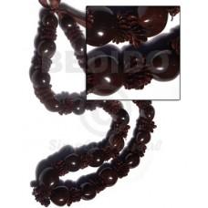 Kukui Nuts Ribbon Black Lumbang Seed Kukui Lei Necklace BFJ058LEI