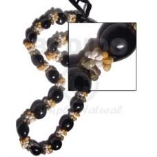 Kukui Nuts Ribbon Black Lumbang Seed Mongo Green Shell White Yellow Kukui Lei Necklace BFJ055LEI