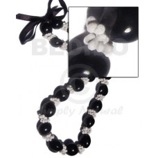 Kukui Nuts Ribbon Black Lumbang Seed Mongo White Shell Kukui Lei Necklace BFJ052LEI