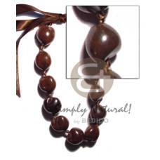 Kukui Nuts Ribbon Brown Lumbang Seed Choker Kukui Lei Necklace BFJ1868NK