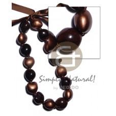 Kukui Nuts Ribbon Brown Painted Lumbang Seed Bronze Kukui Lei Necklace BFJ1924NK