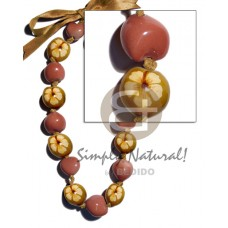 Kukui Nuts Ribbon Rust Hand Painted Lumbang Seed Kukui Lei Necklace BFJ1801NK