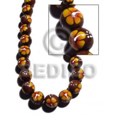 Madre de Cacao 15 mm Painted Orange Yellow Flower White Wood Beads - Painted Wood Beads BFJ368WB