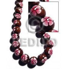 Madre de Cacao Round Painted 15 mm Pink Flower Wood Beads - Painted Wood Beads BFJ369WB