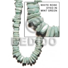 Mint Green 16 inches White Rose Square Cut Dyed Shell Crazy Cut Shell Beads BFJ015SQ