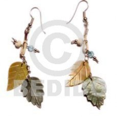 MOP Mother of Pearl Black Lip Shell Leaves Wax Cord Yellow Black Shell Earrings BFJ792ER