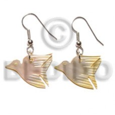MOP Mother of Pearl Dangling 24 mm Bird Yellow Shell Earrings BFJ5024ER