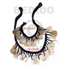 MOP Mother of Pearl Macrame thread Black Natural Set Jewelry Necklace Bracelets Set Jewelry BFJ008SJ