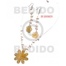 MOP Pink Rose Shell Natural Set Jewelry Earrings Necklace Set Jewelry BFJ032SJ