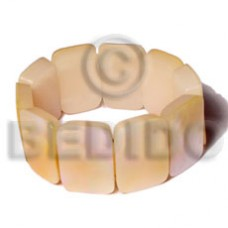 Mother of Pearl 30 mm Elastic Resin Yellow MOP Bangles - Shell Bangles BFJ086BL