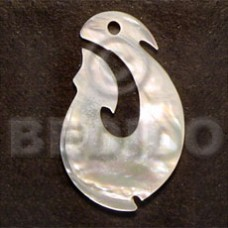 Mother of Pearl Hook 40 mm Yellow Pendants - Shell Pendants BFJ5223P