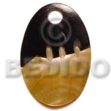 Mother of Pearl Oval 40 mm Yellow Pendants - Shell Pendants BFJ5078P