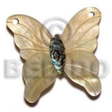 Mother of Pearl Paua Abalone 40 mm Butterfly Carvings Pendants - Shell Pendants BFJ5631P