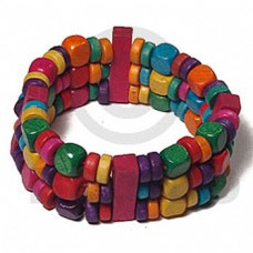 Multi-Color Red Green Orange Purple Wood Beads Elastic adjustable Wood Bracelets BFJ5479BR