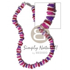 Multi-Color White Rose Puka Shell Square Cut Glass Beads Alternate Puka Shell Necklace BFJ3731NK