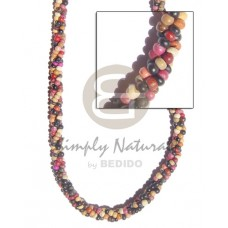 Multi Row 2-3 mm Coconut Pokalet Multi-Color Coconut Necklace BFJ164NK