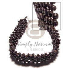 Multi Row Coconut Black Choker Coconut Necklace BFJ593NK