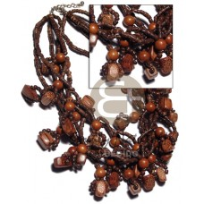 Multi Row Coconut Heishi Bayong Wood Palmwood Brown Wooden Necklaces BFJ2759NK