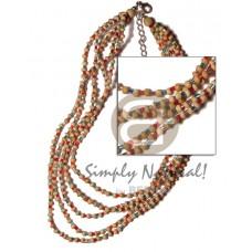 Multi Row Coconut Pokalet Glass Beads Multi-Color Coconut Necklace BFJ839NK